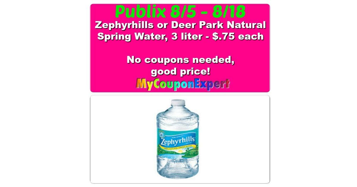Zephyrhills water publix price