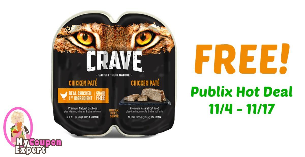 FREE Crave Premium Cat Food Perfect Portions after sale and coupons