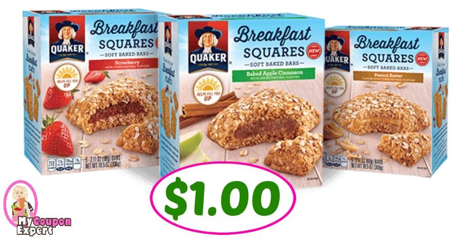 Quaker Breakfast Flats or Squares $1.00 at Publix!