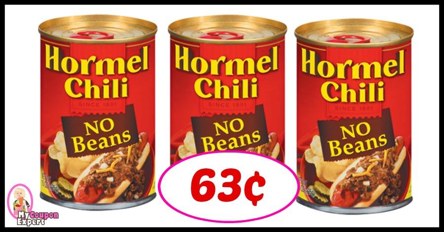 Hormel Chili No Beans just 63¢ at Winn Dixie!
