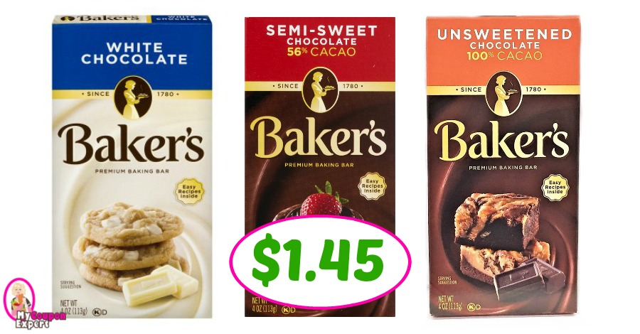 Baker's Premium Chocolate Baking Bars just $1.45 ONE DAY ONLY!