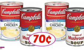 Campbells Cream of Chicken or Mushroom soup 70¢!