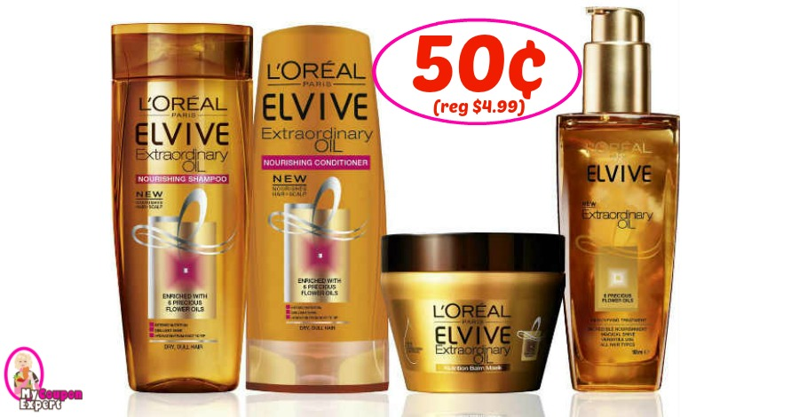 L'Oreal Elvive Hair Care only 50¢ at Publix!  WOW!