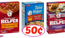 Hamburger, Tuna or Chicken Helper just 50¢ each!