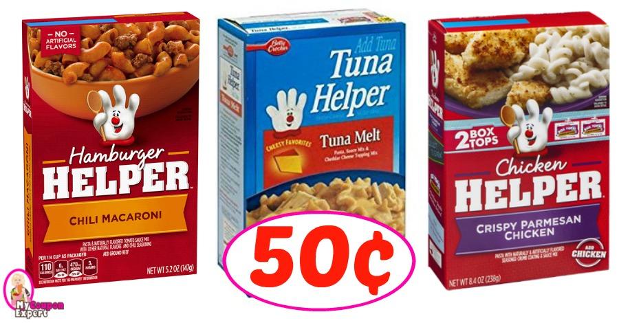 Hamburger, Tuna or Chicken Helper just 50¢ each!