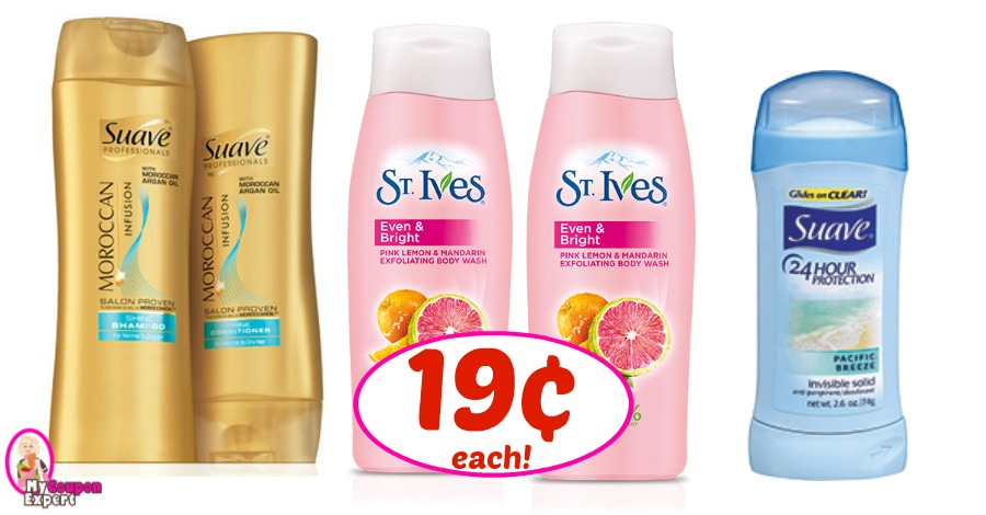 St. Ives Body Wash, Suave Shampoo & Deo just 19¢ at Winn Dixie!