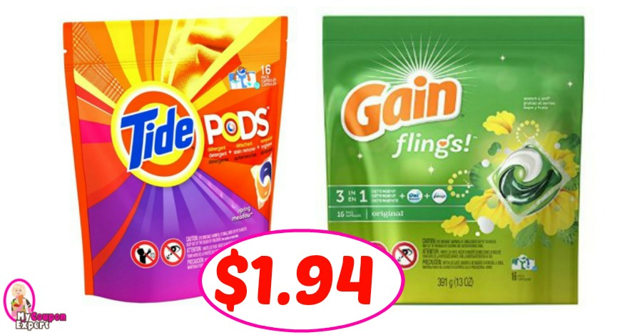 Tide Pods & Gain Flings just $1.94 per pack at CVS!!