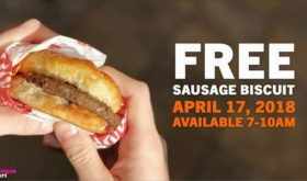 Free Hardee's Sausage Biscuit on Tuesday, April 17th!!