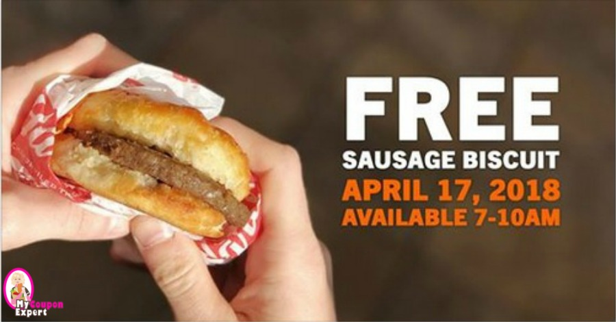 image about Hardee's Printable Coupons referred to as Free of charge Hardees Sausage Biscuit upon Tuesday, April 17th!! ·