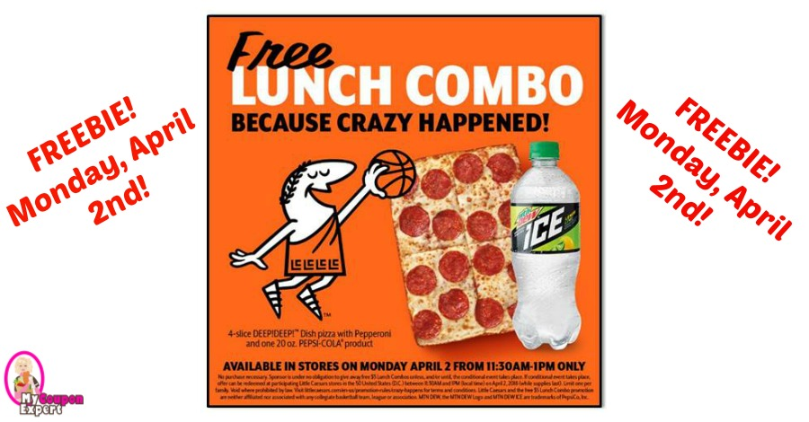 FREE LUNCH at Little Caesars Pizza on Monday April 2nd!