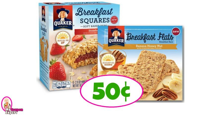 Quaker Breakfast Squares or Flats 50¢ at Winn Dixie!