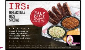 Half Price Rib Dinner at Sonny's on April 17th!!