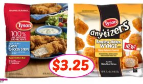 Tyson Chicken Strips or Any'tizers $3.25 per bag at Winn Dixie!