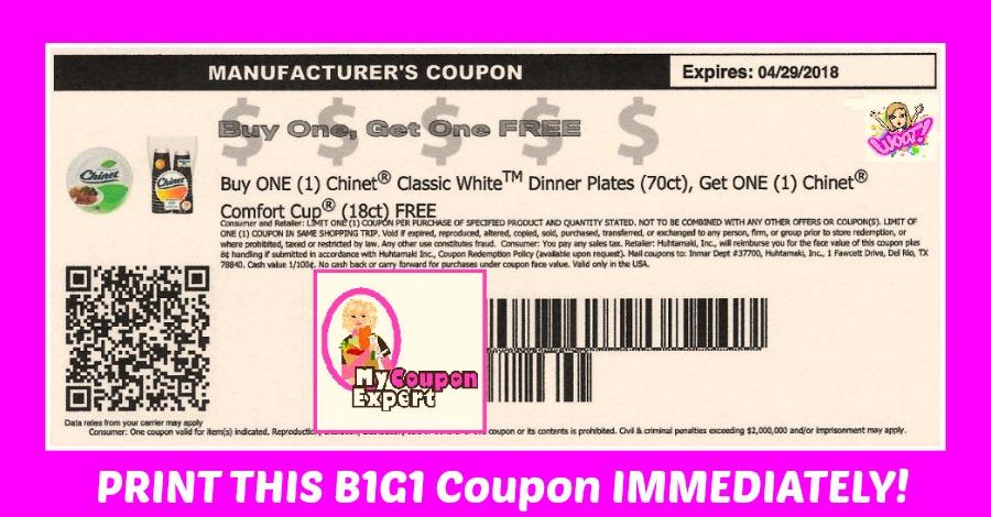 Buy Manufacturer Coupons >> B1g1 Free Chinet Printable Coupon Hurry