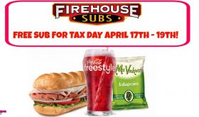 FREE FIREHOUSE SUB April 17th thru 19th!