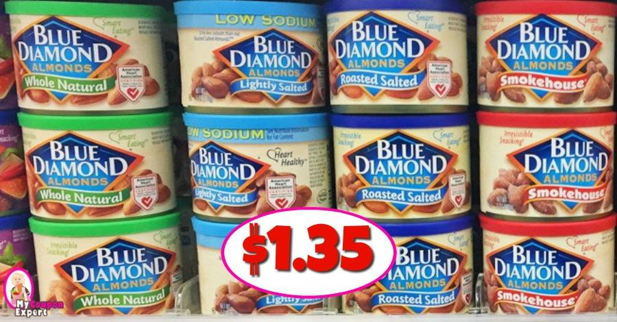 Blue Diamond Almonds $1.35 each at Publix!