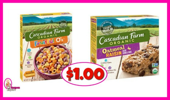 Cascadian Farms Organic Cereal and Bars $1.00 at Publix!