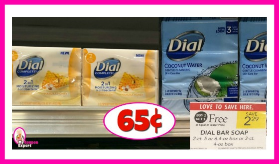 Dial Bar Soap 2 or 3 pack just 65¢ each at Publix!