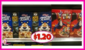 Kellogg's Cereals $1.20 at Publix!