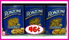 Ronzoni Pasta 46¢ each at Publix!