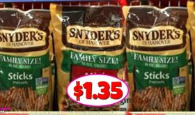 Snyder's Pretzels Family Size $1.35 at Publix NOW!