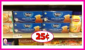 Tetley Tea 24 pack 25¢ at Winn Dixie!