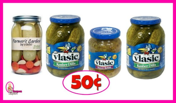 Vlassic Pickles or Farmers Garden 50¢ at Publix!