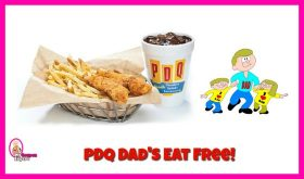 Dad's eat FREE at PDQ on Father's Day!