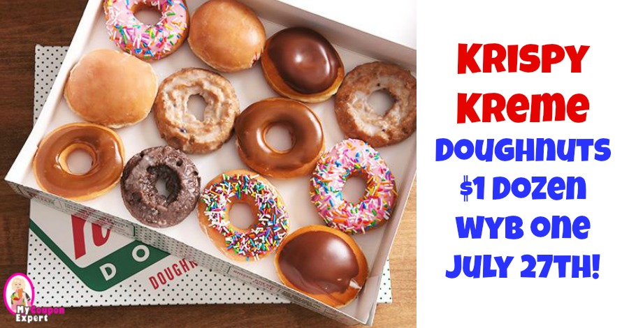 photograph about Krispy Kreme Printable Coupons called Krispy Kreme Doughnuts $1 Dozen July 27th wyb 1! ·