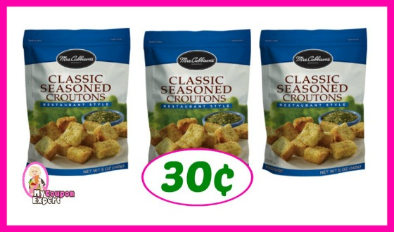 Mrs Cubbisons Croutons 30¢ each at Publix!