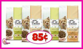 Bella Dry Dog Food 3lb bag 85¢ each!