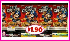 Cap'n Crunch Cereal $1.90 at Publix!