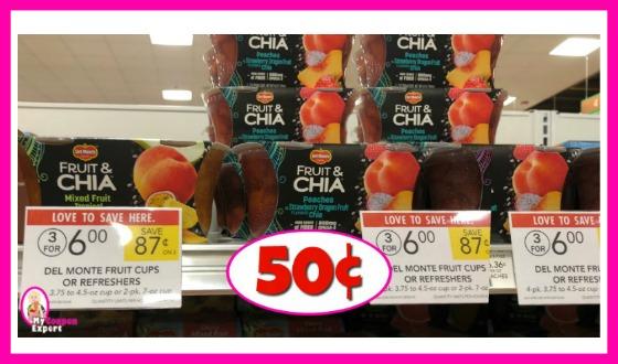 Del Monte Fruit & Chia 50¢ each at Publix!