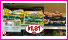 Nathan's Skinless Beef Franks and Buns $1.81 each!
