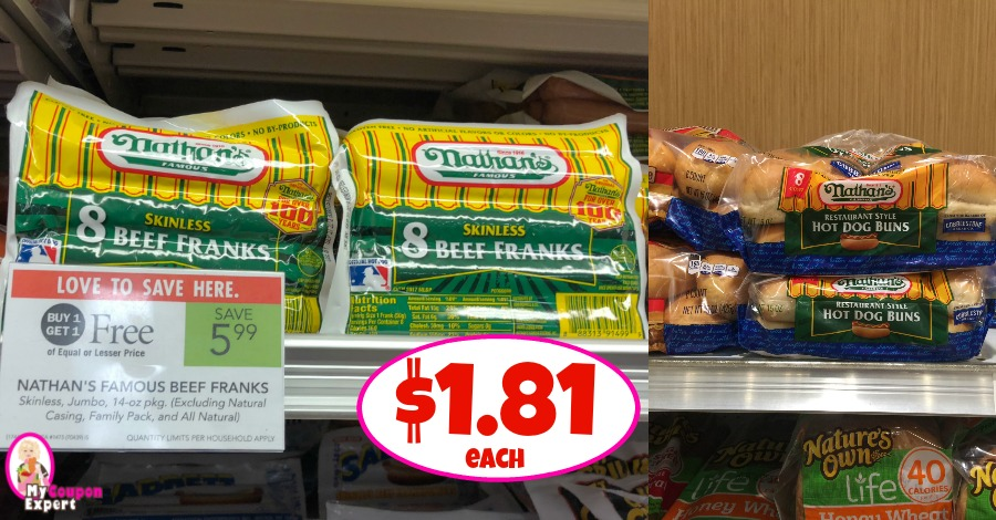 picture relating to Nathans Printable Coupons identified as Nathans Skinless Beef Franks and Buns $1.81 each individual! ·