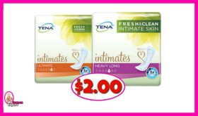Tena Pads just $2.00 each pack at Publix!