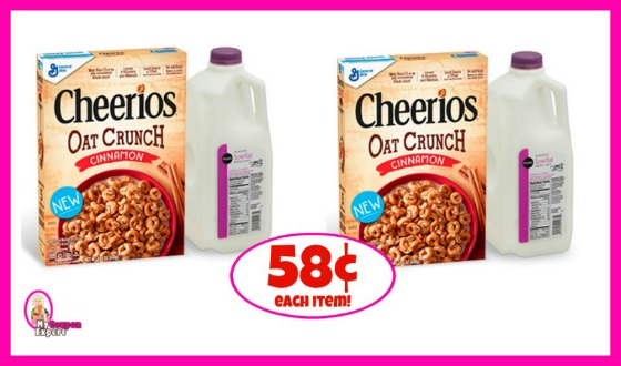 Cheerios Oat Crunch Cereal and Publix Milk just 58¢ each thru 9/5!