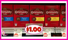 Community Coffee K-Cups or Bags $1.00 at Publix!