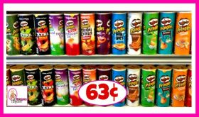 Pringles Potato Crisps or Corn Chips 63¢ at Publix!