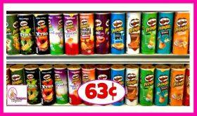 Pringles Potato Crisps or Tortilla Chips 63¢ at Publix!
