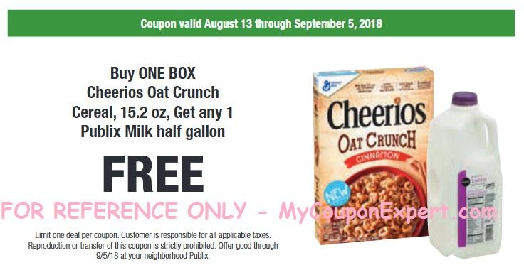 graphic relating to Cheerios Coupons Printable called Cheerios Oat Crunch Cereal and Publix Milk particularly 58¢ each individual