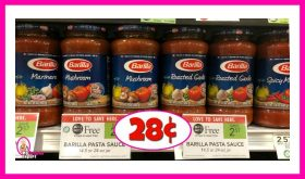 Barilla Pasta Sauce 28¢ each at Publix!