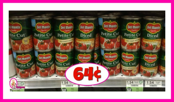 Del Monte Tomatoes 64¢ each at Publix!