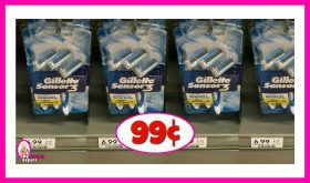 Gillette Disposable Razors 99¢ per pack at Publix!