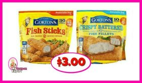 Gortons Fish Sticks or Fillets $3.00 each bag at Publix!