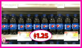 Pepsi 8 Pack 12 oz Bottles $1.25 each at Publix!