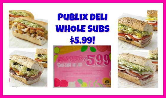 Publix Deli Whole Subs just $5.99 each!  FOUR DAYS ONLY!