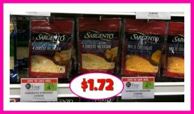 Sargento Shredded Cheese $1.72 each at Publix!!