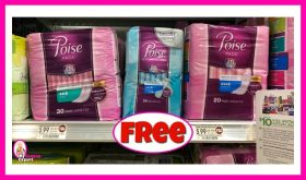 Poise Pads or Liners FREE at Publix!  Money Maker for some!