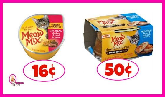 Meow Mix Cat Food 16¢ each at Publix!